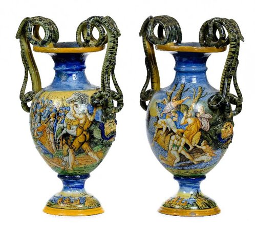 Lot 506-Italian Maiolica Vases.