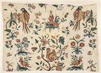 321 - An early crewelwork panel, late 17th/early 18th century