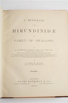 Lot 104-Sharpe (Richard Bowdler, & Claude Willmott Wyatt). Monograph of the Hirundindae, 1885-94