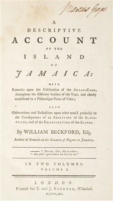 Lot 299 - Beckford (William). A Descriptive Account of the Island of Jamaica, 1790