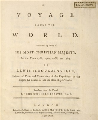 Lot 258 - Bougainville (Louis de). A Voyage round the World, 1st edition in English, 1772