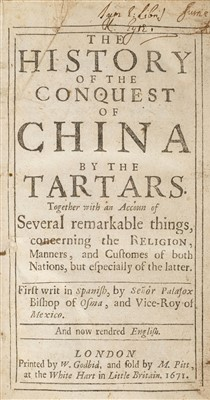 Lot 41-Palafox y Mendoza (Juan de). The History of the Conquest of China by the Tartars, 1671