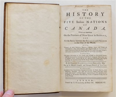 Lot 197 - Colden (Cadwallader). The History of the Five Indian Nations of Canada, 1st UK edition, 1747