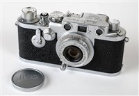 Lot 385-Leica IIIf rangefinder (1953) with Elmar 50mm f/3.5 lens.