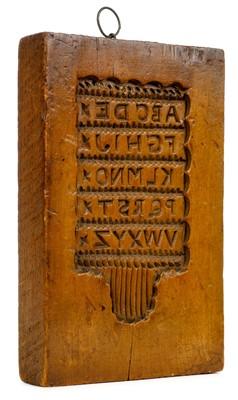 Lot 329 - Hornbook Mould. A wooden gingerbread hornbook mould, circa 1800