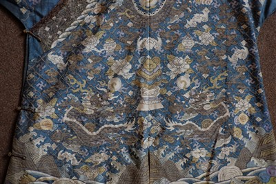 Lot 142-Chinese Dragon Robe.  A kesi silk nine-dragon robe, late Qing Dynasty