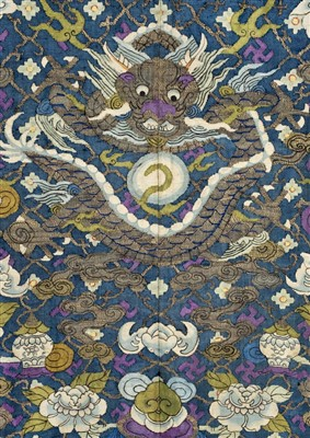 Lot 142 - Chinese Dragon Robe.  A kesi silk nine-dragon robe, late Qing Dynasty