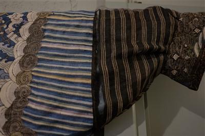 Lot 142 - Chinese Dragon Robe.  A kesi silk nine-dragon robe, late Qing Dynasty