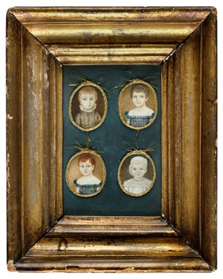 Lot 424 - Portrait Miniatures. A framed set of four oval miniature paintings of children, 1821