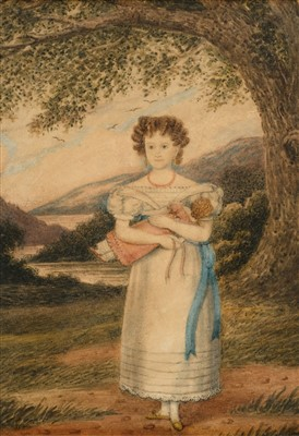 Lot 419 - English School. Portrait of a girl with a doll, circa 1820