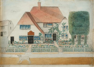 Lot 426 - Domestic Architecture. Gabled house with dog, 1844