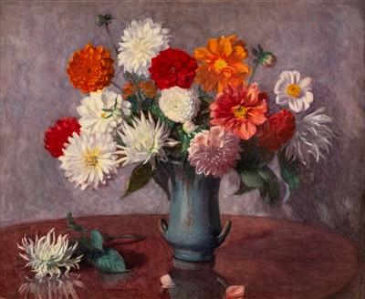 Lot 48-Jones (Winifred J.). Still Life of Flowers in a Vase