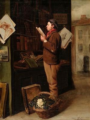 Lot 432 - Hughes (Edwin, 1842-1922). Greengrocer's Boy at a Print Stall, 1874