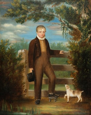Lot 421 - Naive School. Regency portrait of a young boy beside a stile with a dog, circa 1820