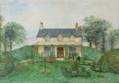 Lot 431 - Domestic Architecture. A gabled late Victorian house and flower garden, by A.W.C., Septr. 1871