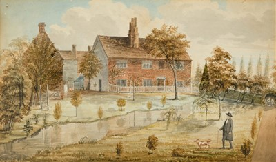 Lot 412 - Domestic Architecture. A farmhouse with gentleman and dog, circa 1800