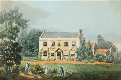 Lot 415 - Domestic Architecture. A Georgian house with figures in the garden, circa 1810
