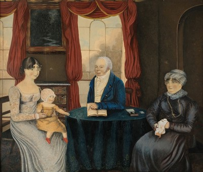 Lot 420 - Naive School. A Regency family group seated at a table, circa 1820s