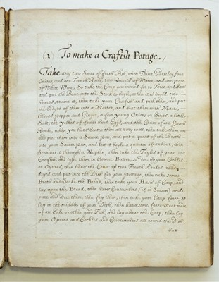 Lot 114-Manuscript Cookery Book. An early receipt book, circa 1700