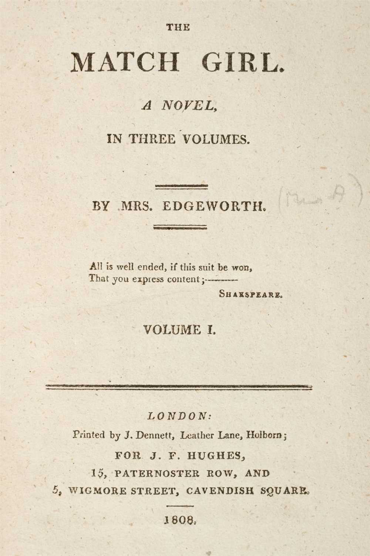 Lot 341-Edgeworth (Maria). The Match Girl, A Novel, 1808