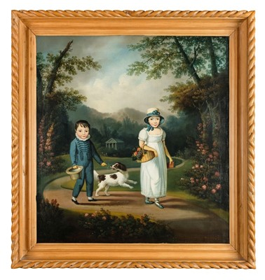 Lot 417 - Naive School. Regency portrait of two children and a dog in a garden, circa 1810