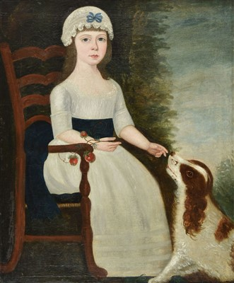 Lot 410 - Naive School. Portrait of a seated girl with spaniel, late 18th century