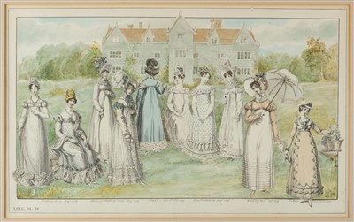 Lot 434 - Fashion. Pair of watercolours of country houses with figures from fashion plates, late 19th century