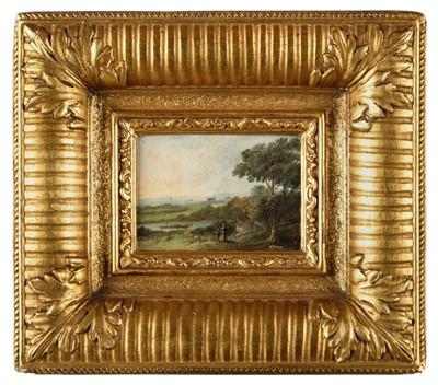 Lot 418 - Continental School. Miniature landscape with figures, circa 1820