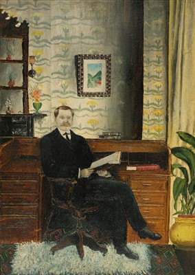 Lot 438 - Portrait Study. A gentleman seated by a desk, circa 1920