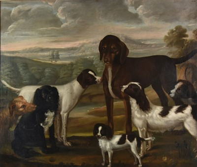 Lot 411-Naive School. Portrait of seven dogs, circa 1780s