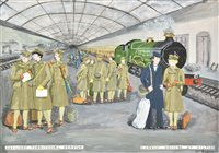 Lot 45-Auxiliary Territorial Service. A series of 14 original watercolour and gouache drawings