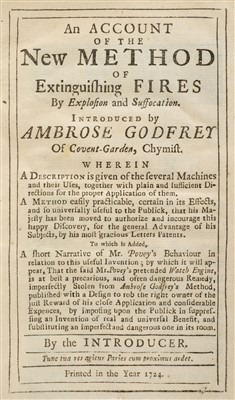Lot 151-Godfrey (Ambrose). New Method of Extinguishing Fires by Explosion and Suffocation, 1724