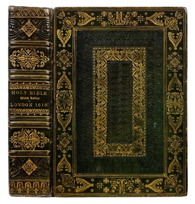 Lot 6-Bible, 1606, 19th-century straight-grain green moroco gilt