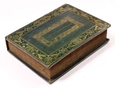 Lot 6-Bible, 1606, 19th-century straight-grain green moroco gilt