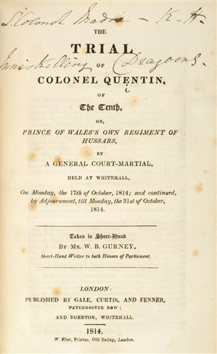 Lot 9-Gurney (W. B.). The Trial of Colonel Quentin, 1814