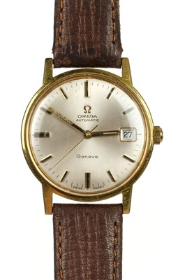 Lot 36-Omega. A gents Omega automatic gold plated wristwatch
