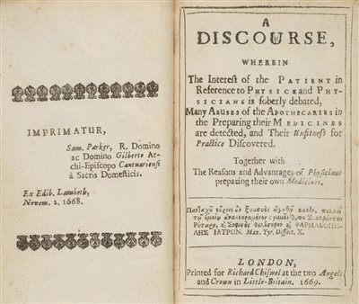 Lot 36-Coxe (Thomas). Discourse of Physick and Physicians, 1669