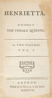 Lot 221 - Lennox (Charlotte). Henrietta, 2 volumes, 1st edition, 1758