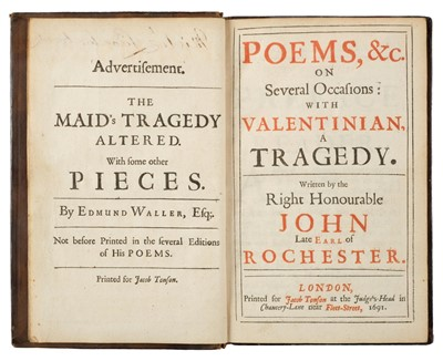 Lot 89-Rochester (John Wimot, Earl of). Poems, etc., 1st authorized edition, for J. Tonson, 1691