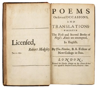 Lot 91-Fletcher (Thomas). Poems on Several Occasions, 1st edition, 1692