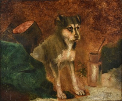 Lot 427 - Naive School. Portrait of a seated terrier, circa 1850-70