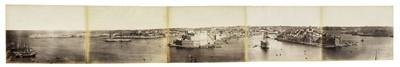 Lot 24-Malta. A 5-part panorama of Malta, c. 1870s