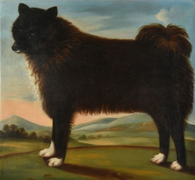 Lot 423-Naive School. Portrait of a black dog, early 19th century
