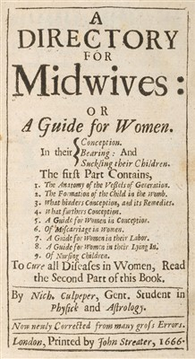 Lot 35-Culpeper (Nicholas). A Directory for Midwives, 1666-7
