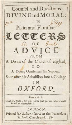 Lot 77-Granville (Denis). Letters to his Nephew after his Admission into a College in Oxford, 1685