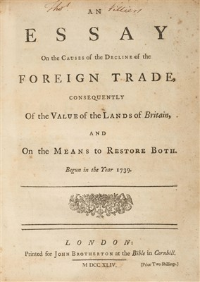 Lot 190 - Decker (Matthew). An Essay on the Causes of the Decline of the Foreign Trade, 1st edition, 1744
