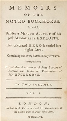 Lot 217 - Anstey (Christopher). Memoirs of the Noted Buckhorse, 1756