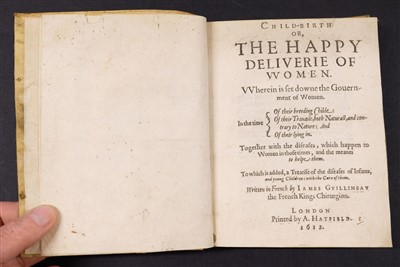 Lot 9-Guillemeau (Jacques). Child-Birth or, the Happy Deliverie of Women, 1612