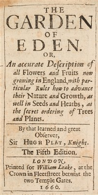 Lot 27-Plat (Sir Hugh). The Garden of Eden, 1660