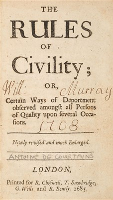 Lot 75-Courtin (Antoine de). The Rules of Civility, 1685